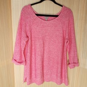 "T by Talbots pink 3/4"" sleeve sweater.  Size 1X"